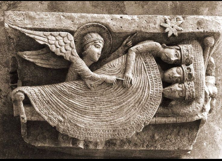 Stone relief.  Autun cathedral. Burgundy
