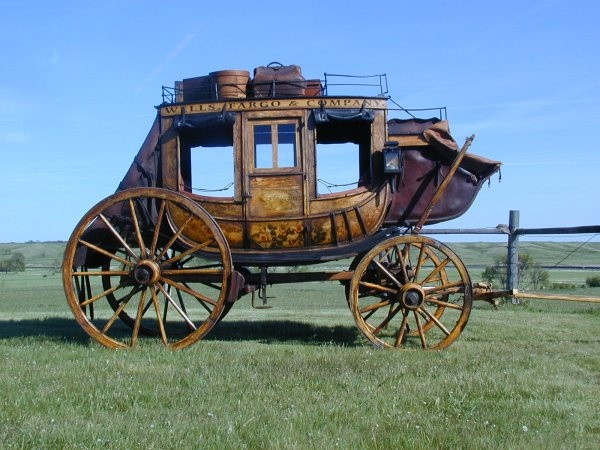 Wells Fargo Stage-Rode in one of these at a Western town re-inactment place and I don't know how people did it! I had always wanted to ride in one..that cured me! They'll beat you to death! And we were barely putting along. Thank you Lord, I was born after cars were invented!
