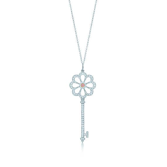 Tiffany Keys bloom key of platinum and rose gold with pink and white diamonds.