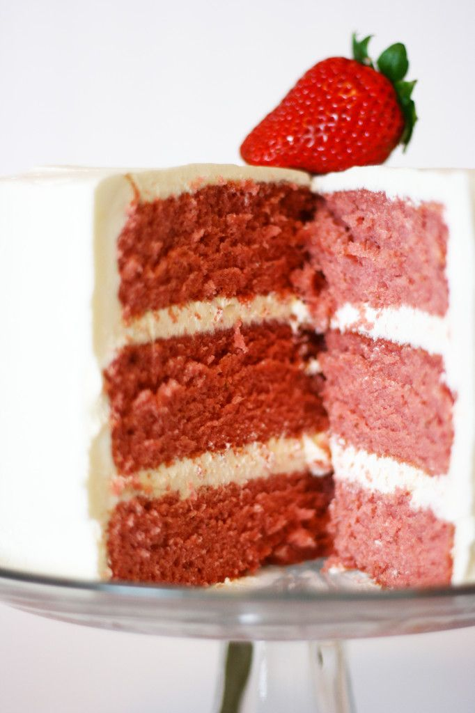 Strawberry cake made from scratch, with real strawberries.