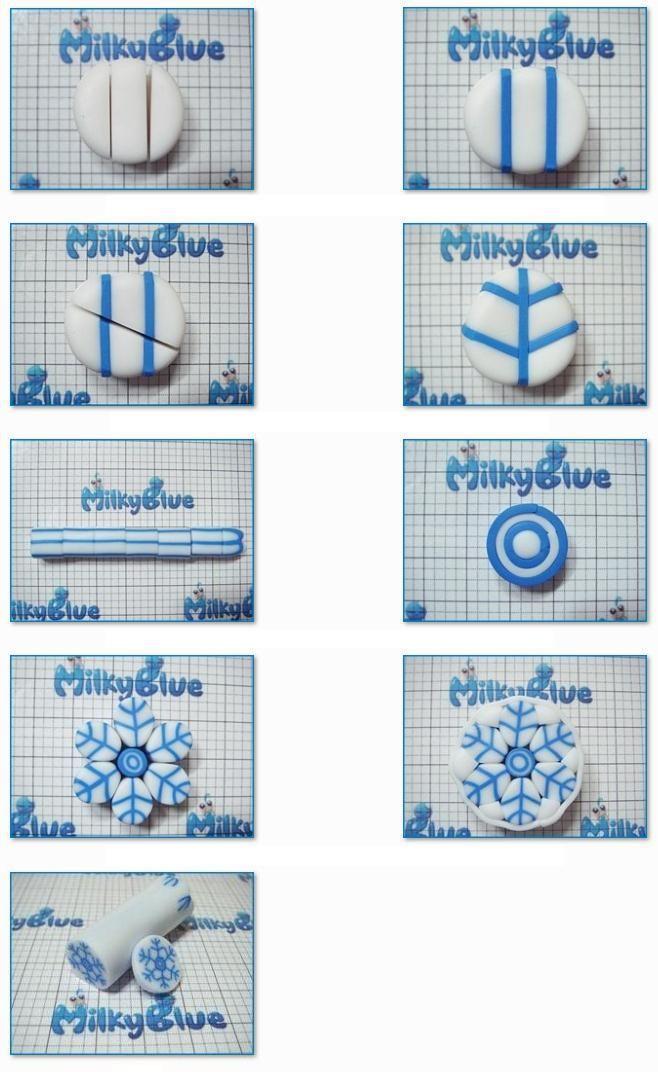 Free polymer clay snowflake cane tutorial. Créez une cane flocon de neige en pâte polymère.