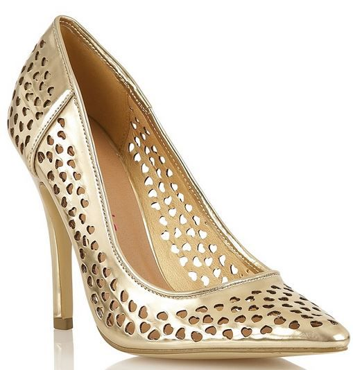 Dolcis gold heart-cut court shoes