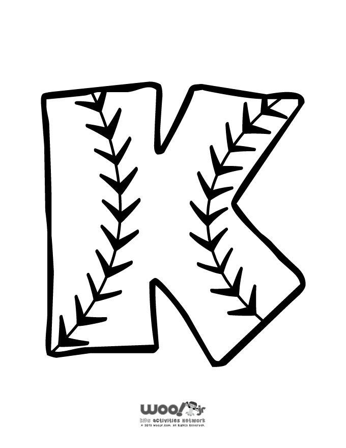 Printable Baseball Alphabet Letters Baseball Alphabet Letter K – Craft Jr.