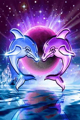 Two Dolphins That Are Blue And Purple