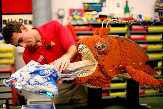 Legoland California's master model builder, Ryan Ziegelbauer, constructs the giant opee sea killer found on the planet Naboo for the Star Wars Miniland expansion. The model is created out of more than 20,000 Lego bricks!