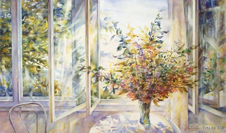 Открытое окно (акварель) - Бобрышев Александр