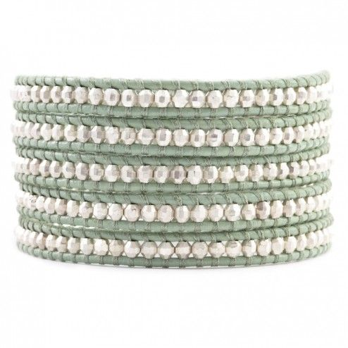 Chan Luu Aquitin Leather Sterling Silver Wrap Bracelet