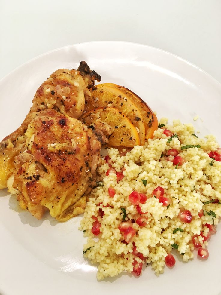 Roasted Orange Chicken with Pomegranate Couscous Salad