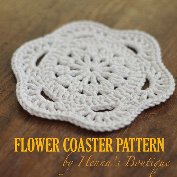 Crochet Coaster Pattern Flower Coaster PDF by hennasboutique