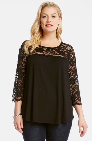 Plus Size Lace & Jersey Top