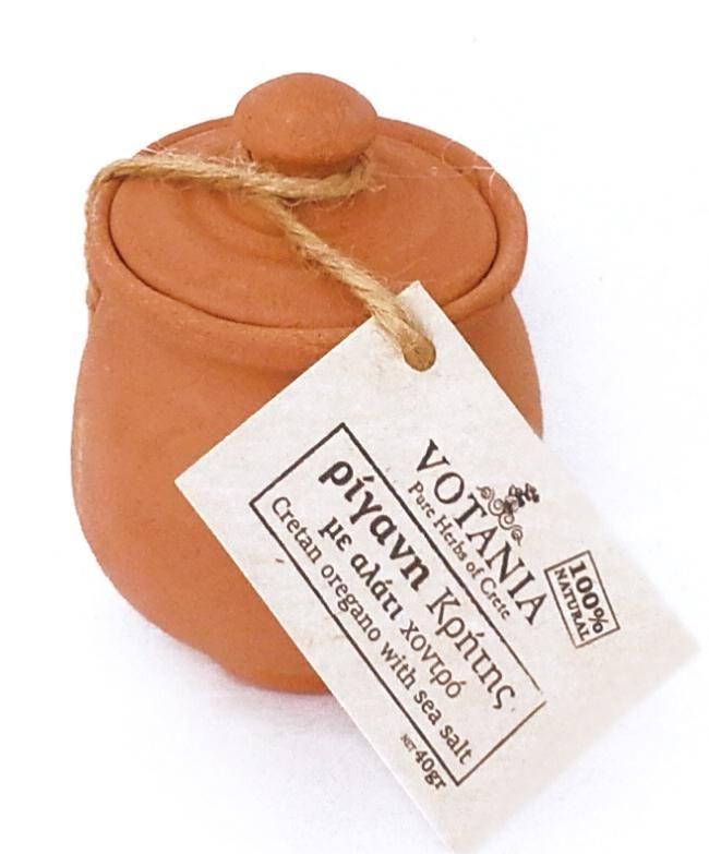 Gros sel de Crète à l'origan 40 g dans son pot en argile fait main