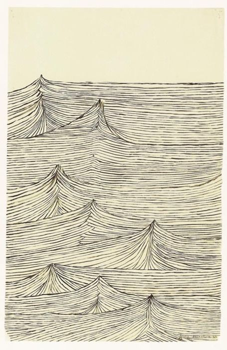 Could this be done with stitching? louise bourgeois - waves, ocean line drawings. so much feeling and energy in this