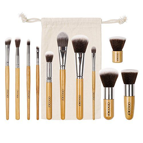 Docolor 11Pcs Makeup Brush Set Bamboo Handle Foundation Eyeshadow Kabuki Kits with Travel Pouch >>> Want to know more, click on the image.