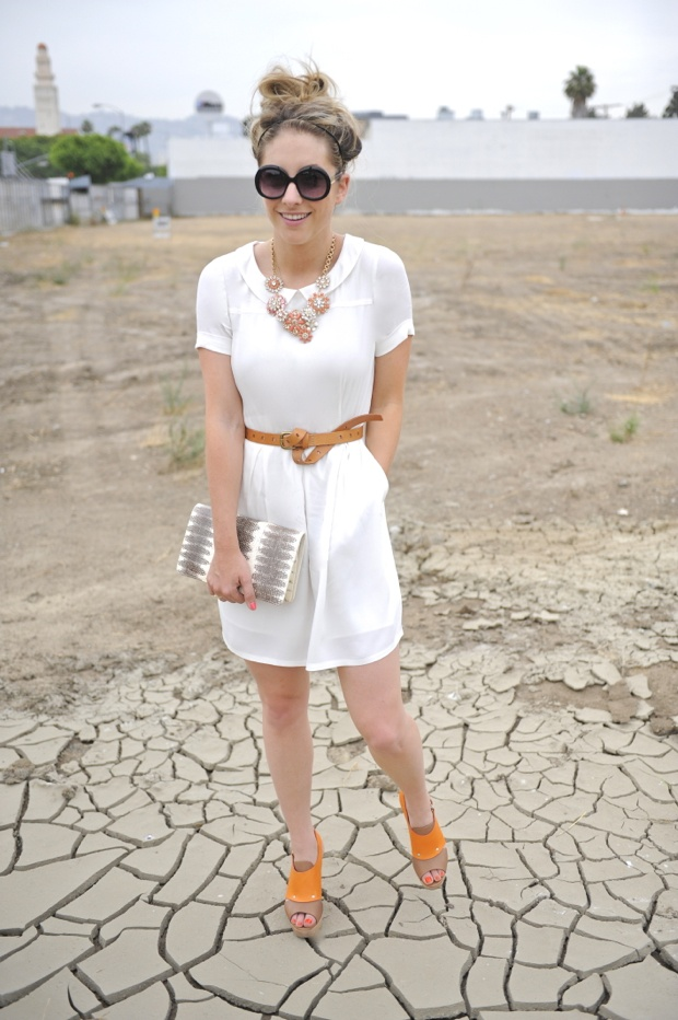 """Madewell dress with cute orange shoes.. """"made up so well""""-adorable!  Via CupcakesandCashmere"""