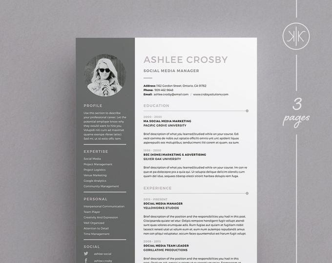 Heather Resume Cv Template Word Photoshop Indesign Etsy Cv Template Word Resume Design Cv Template