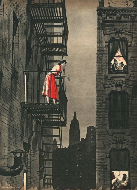 """«Ed Vebell illustration to """"Loneliness Is Dangerous"""" by Harry Coren. Cutline: """"Alone in the midst of millions, the girl, who longed to talk to someone, stood on her fire escape as the voices of others, enjoying the companionship denied her, drifted up through the night."""" Sunday Mirror Magazine, August 14, 1955»."""