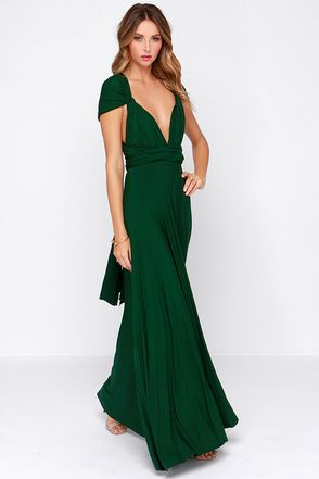 Awesome Forest Green Dress - Maxi Dress - Wrap Dress - $68.00