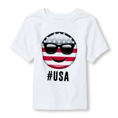 s Toddler Boys Americana Short Sleeve 'Hashtag Usa' Flag Face Emoji Graphic Tee - White T-Shirt - The Children's Place