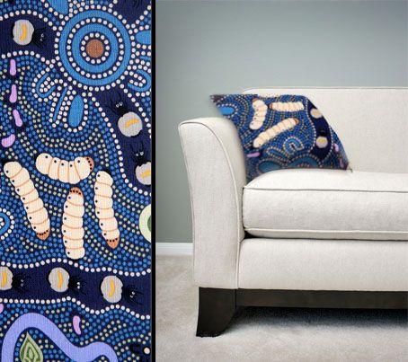 Design:  Bush Tucker Blue Size:  50cm square - 100% cotton - zip Australia Made Code:  CUSH-BUL01 Price:  $30.00