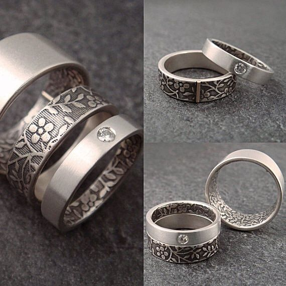 Engagement Ring Sterling Silver Band with by DownToTheWireDesigns