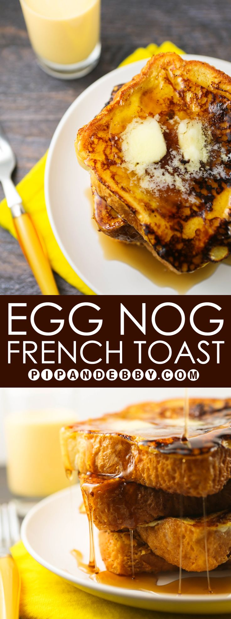 Egg Nog French Toast | A fun and festive way to use up Egg Nog this season! #breakfast
