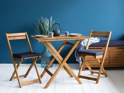 Salon de jardin en acacia FSC : 2 chaises pliantes + 1 banc coffre + 1 table pliante DENIM