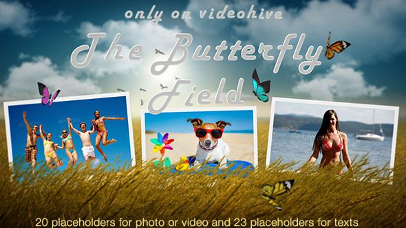 Photo Slideshow - Butterfly Field It´s a perfect Photos and Videos slideshow for holidays, birthdays, anniversaries, weddings or happy memories. It is great for family, vacation, travel, friends, road trips, portfolio, instagram photos and short videos. The wheat field pre-render layer is LOOPABLE!