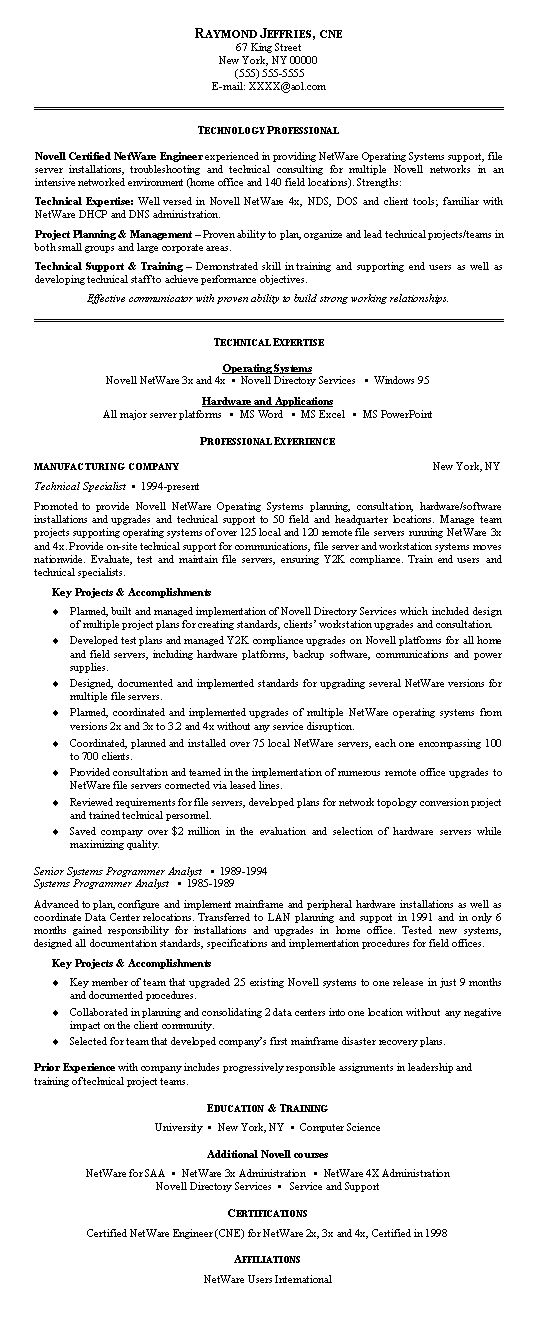 Network Engineer Resume Example - Examples of Resumes