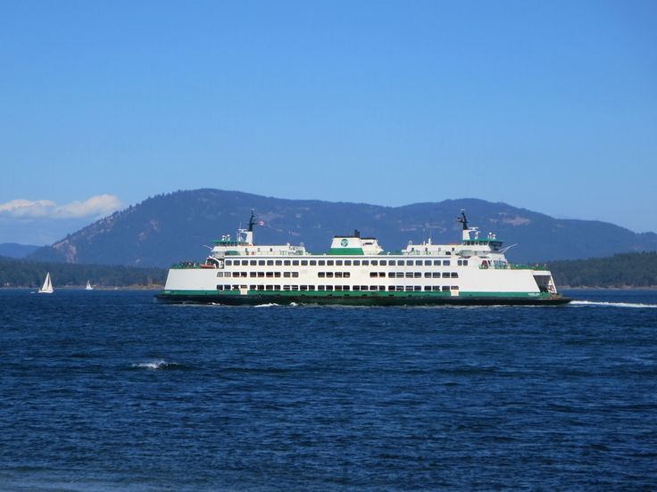 The Washington State Ferry passes south of Saltspring Island on its way from Anacortes, Washington, to Sidney, British Columbia, Canada.