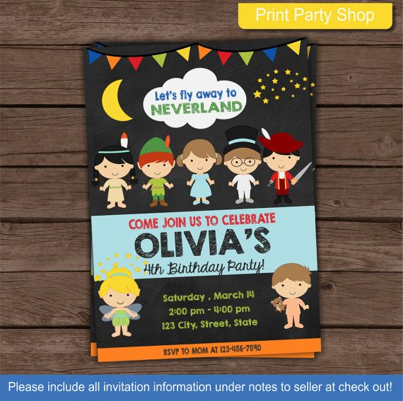 Neverland Invitation / Peter Pan Invitation by printpartyshop