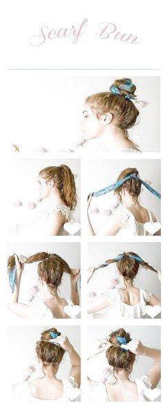#bun #Click #cute #cute scarf hairstyles #EasyHairUpdos #hairstyle
