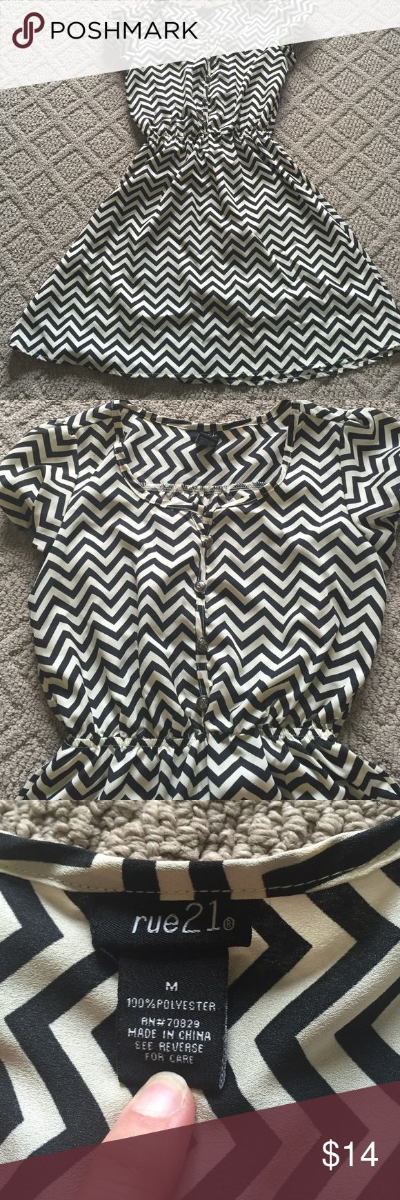 Super Cute Chevron Top!! This top is so cute with leggings and boots.  It can be accessorized with a belt. If you are shorter can be worn as a dress but it is sheer. Rue 21 Tops