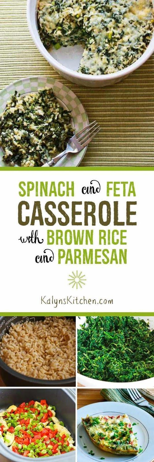 Spinach and Feta Casserole with Brown Rice and Parmesan is delicious for a meatless dinner. PIN this now so you'll have it when the kids go back to school!  [found on http://KalynsKitchen.com]