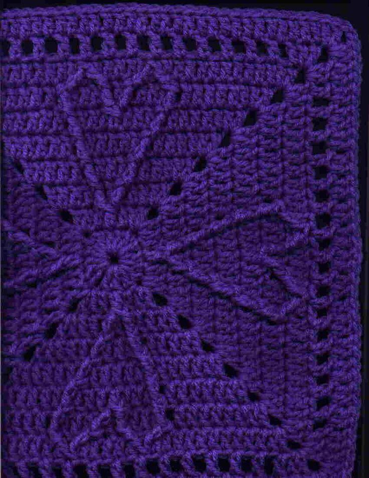 Cable Hearts Afghan Square Motif - Free Crochet Pattern - (yarncrazy.blogspot)