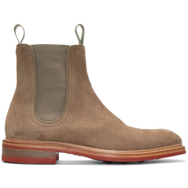 Rag and Bone Beige Suede Spencer Boots (660 CAD) ❤ liked on Polyvore featuring men's fashion, men's shoes, men's boots, beige, mens suede chelsea boots, beige mens dress shoes, mens suede boots and mens suede shoes