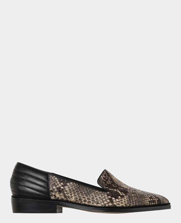 Slippers en cuir embossé façon python - Chaussures - Femme - The Kooples