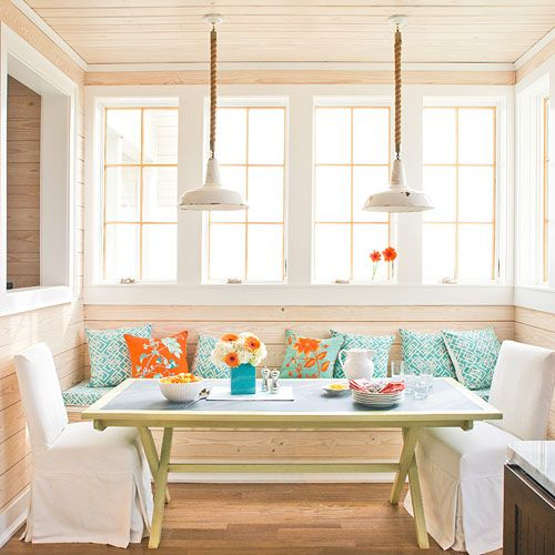 dining booth with storage. playful breakfast nook a window-filled alcove functions like dining room with casual table, two slipcovered end chairs, and pillow-topped banquette. booth storage e