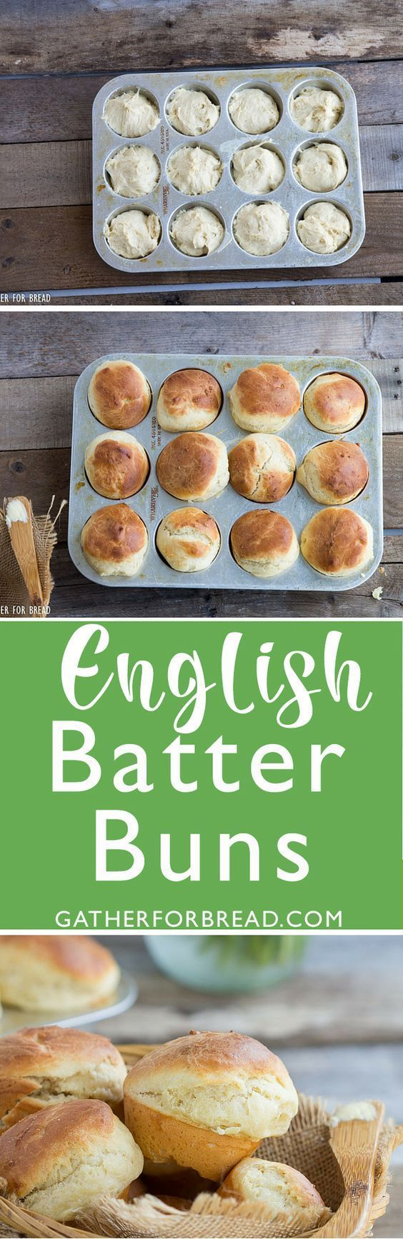 English Batter Buns - Homemade soft rolls. Perfect as a side for every meal!  | http://gatherforbread.com