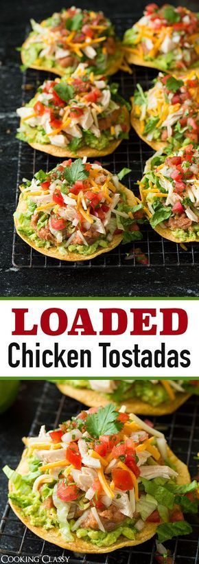 Chicken Guacamole and Bean Tostadas - easy yet so delicious!