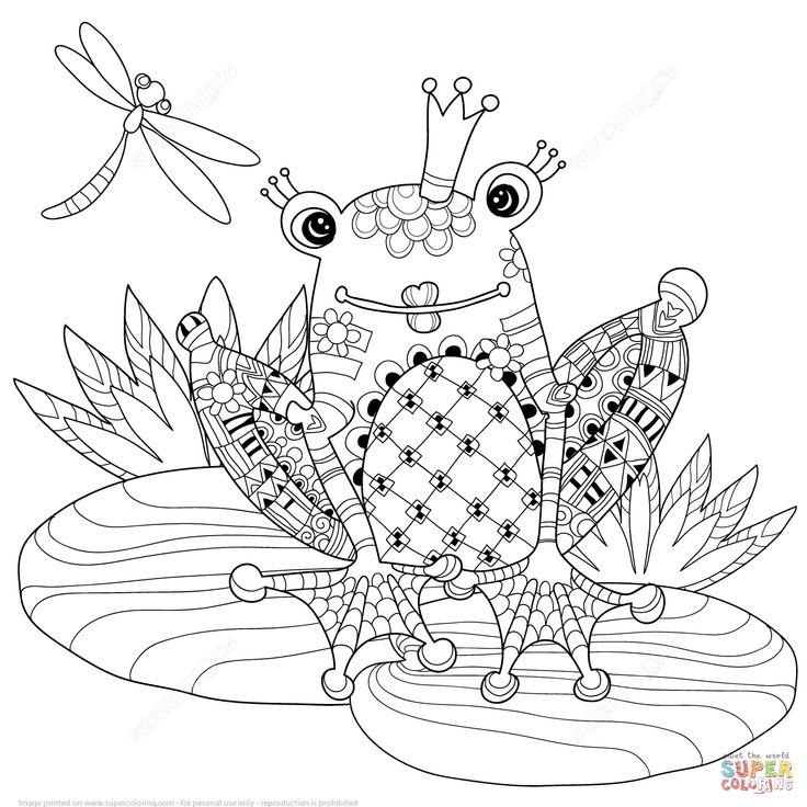 zentangle de príncipe rana | super coloring | dibujos