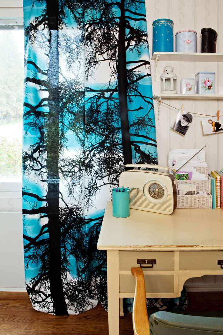 Kelohonka curtain turquoise 72 by Tanja Orsjoki