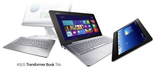 Transformer Book Trio by Asus  Runs Android and Windows 8. Can function as a Tablet, Netbook, and Desktop PC