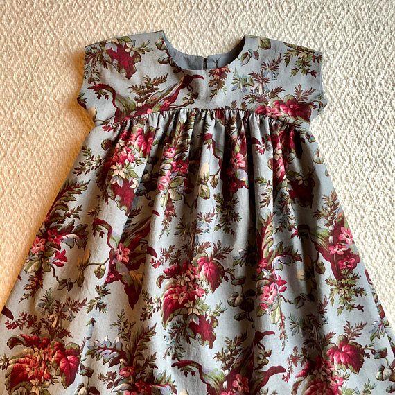 Floral Toddler Baby Dress/ Vintage Style Girls Dress/ Infant