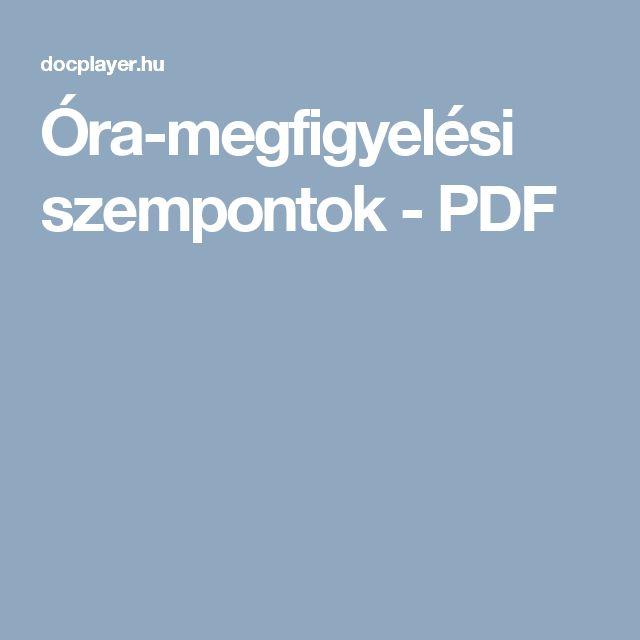 Óra-megfigyelési szempontok - PDF