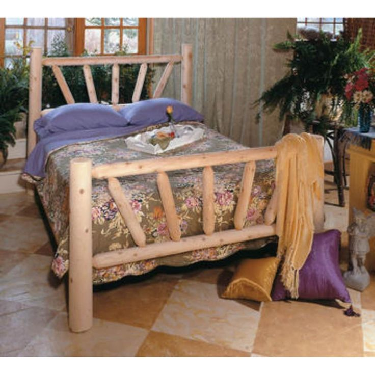 76 Handcrafted Cedar Log Style Wooden Sunrise Double Bed Frame, Brown