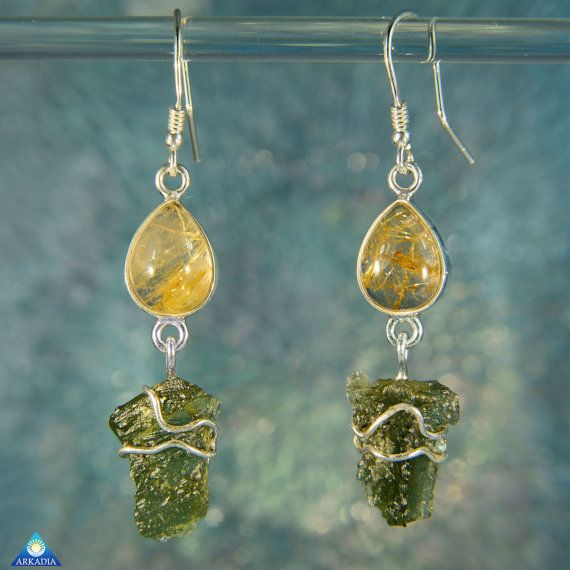 Golden Rutile Quartz & Raw Moldavite Crystal by ArkadianCollection