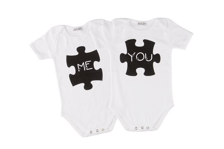Short sleeve Twin Set onesies me & you puzzle... 100% cotton.