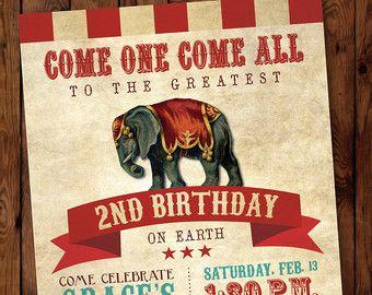 Circus Invitation. Circus Birthday por LittleMountainTop en Etsy