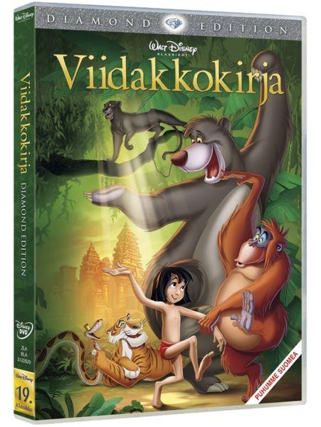 Viidakkokirja-dvd. Susien kasvattama ihmispoika Mowgli ja pantteri Bagheera seikkailevat läpi viidakon ja kohtaavat seikkailullaan hurjan ihmissyöjätiikeri Shere Khanin, letkeää karhun elämää viettävän Baloon, hulvattoman apinakuningas Louien, ja monet muut riemastuttavat ystävät. 1967.