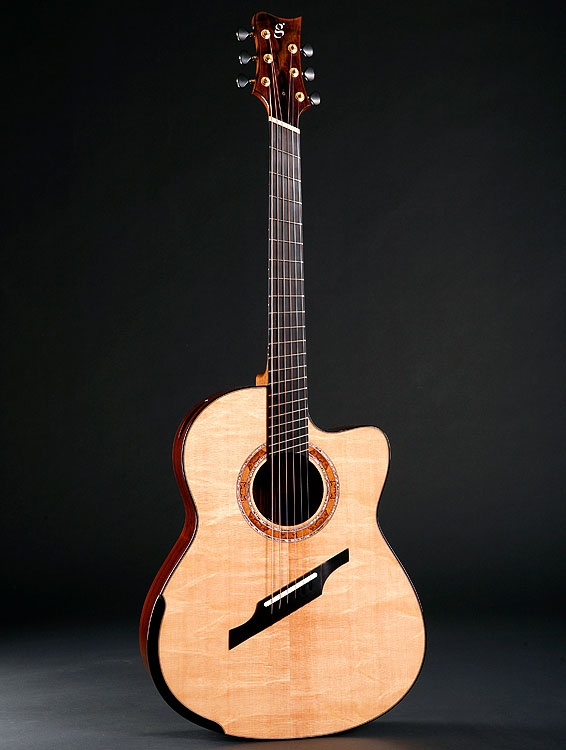 greenfield guitar. (fanned fretted guitar, multi-scale geometry). Beautiful! i am so getting one